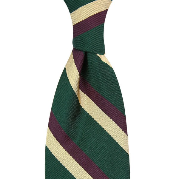 Repp Stripe Silk Tie - Bottle / Purple / Champagne - Handrolled