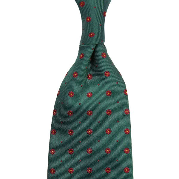 Floral Jacquard Silk Tie - Forest - Hand-Rolled