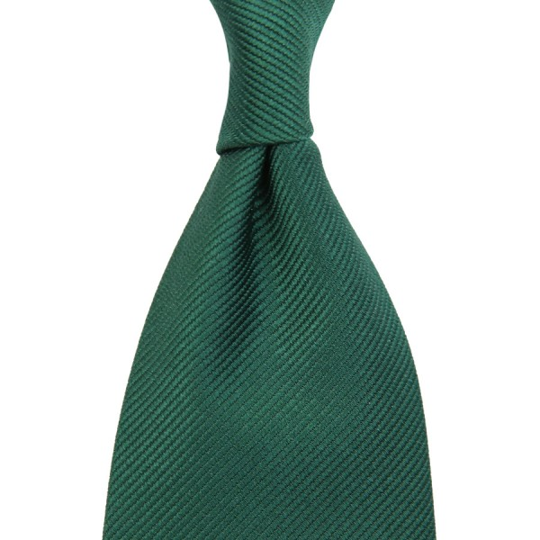 Plain Repp Silk Tie - Forest Green - Self Tipped