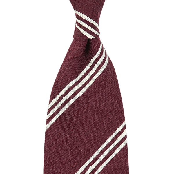Triple Bar Shantung Silk Tie - Burgundy - Handrolled