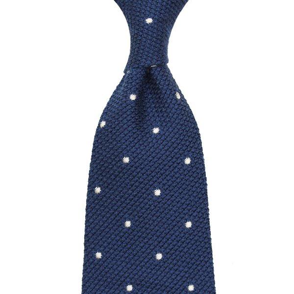 Wool/Silk Grenadine Tie With Dots - Navy - Handrolled