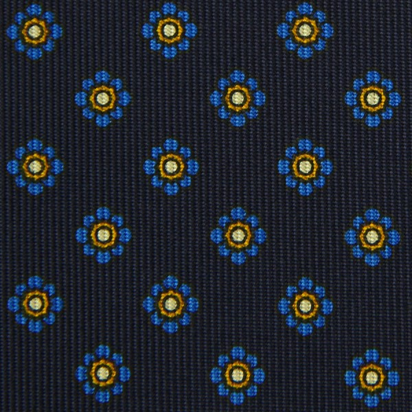 Shibumi-Flower Printed Silk Bespoke Tie - Navy