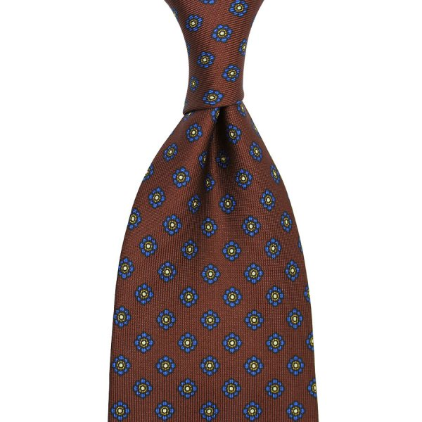 Shibumi-Flower Printed Silk Tie - Brown - Handrolled