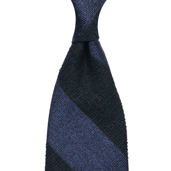 Block Stripe Repp / Boucle Silk Tie - Navy