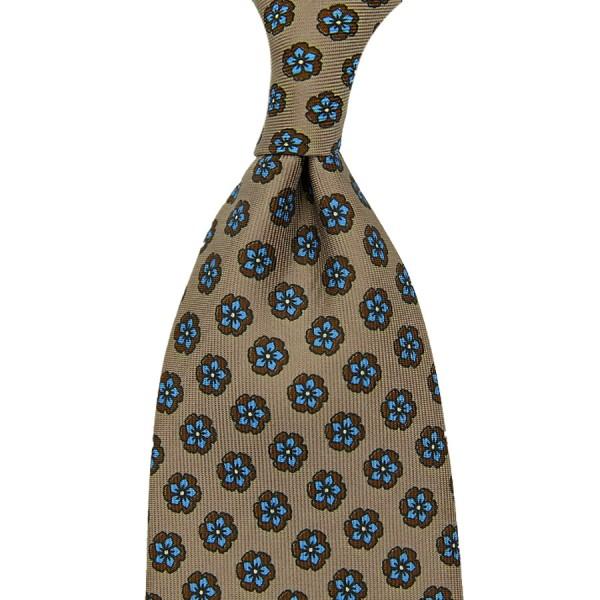 Floral Printed Silk Tie - Beige - Handrolled