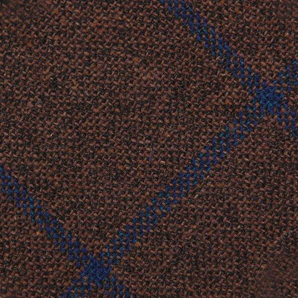 Windowpane Wool / Silk Bespoke Tie - Brown