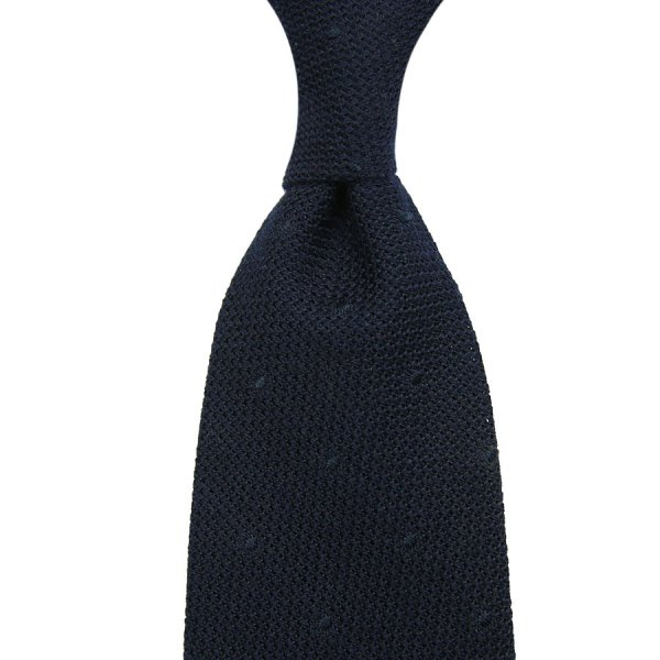Dotted Silk / Cashmere Grenadine Tie - Midnight - Hand Rolled