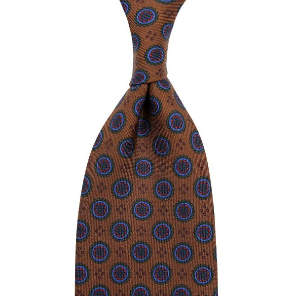 Ancient Madder Silk Tie - Oatmeal II - Hand-Rolled