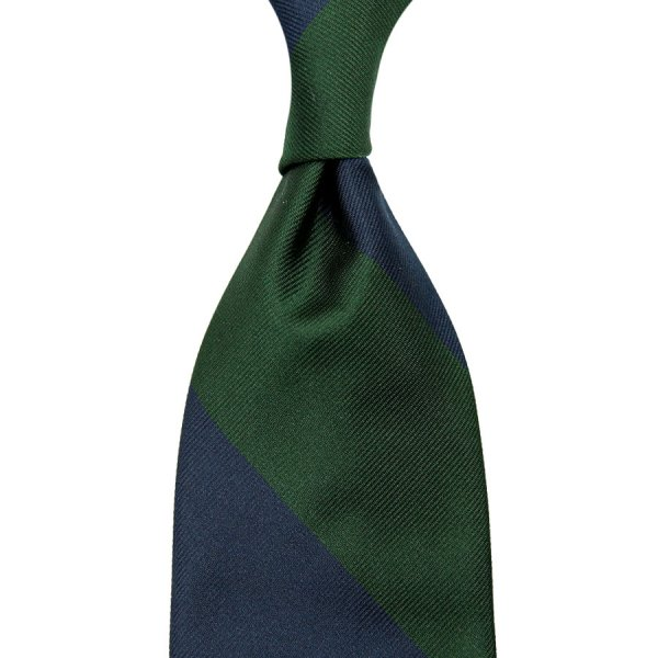 Block Stripe Repp Silk Tie - Navy / Forest - Hand-Rolled