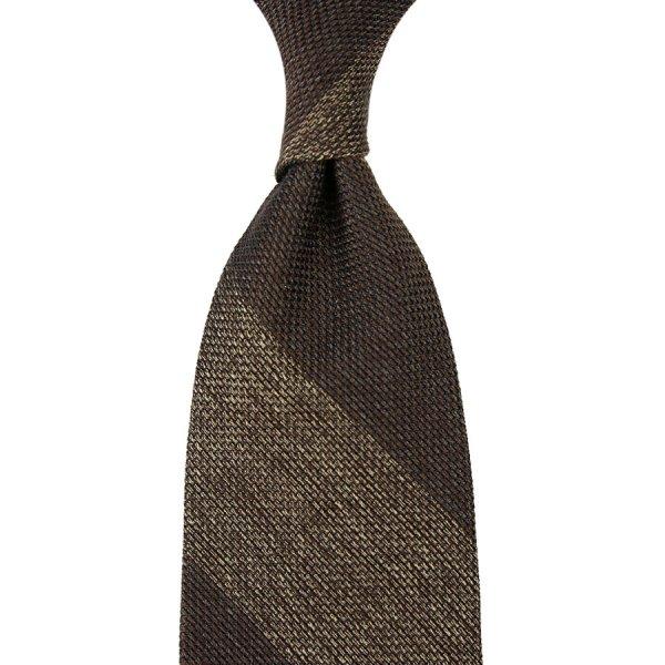 Block Stripe Grenadine / Garza Piccola Silk Tie - Brown / Beige Mottled