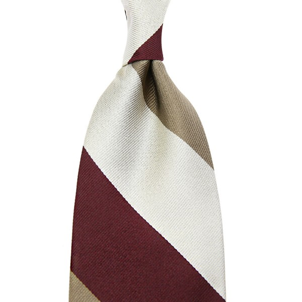 Triple Block Stripe Silk Tie - Burgundy / Beige / Ivory - Handrolled