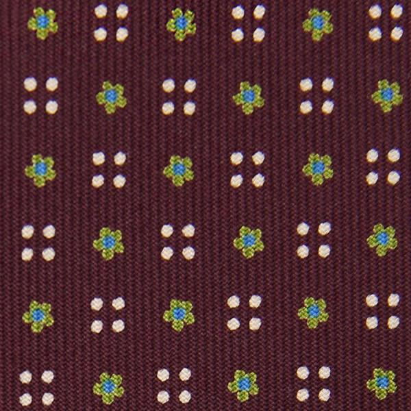 Floral Printed Bespoke Silk Tie - Burgundy V