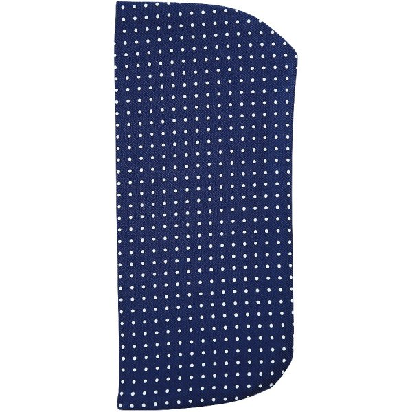 Dotted Printed Silk Glasses Case - Navy