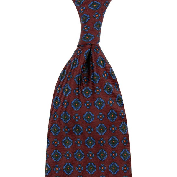Ancient Madder Silk Tie - Burgundy V - Hand-Rolled