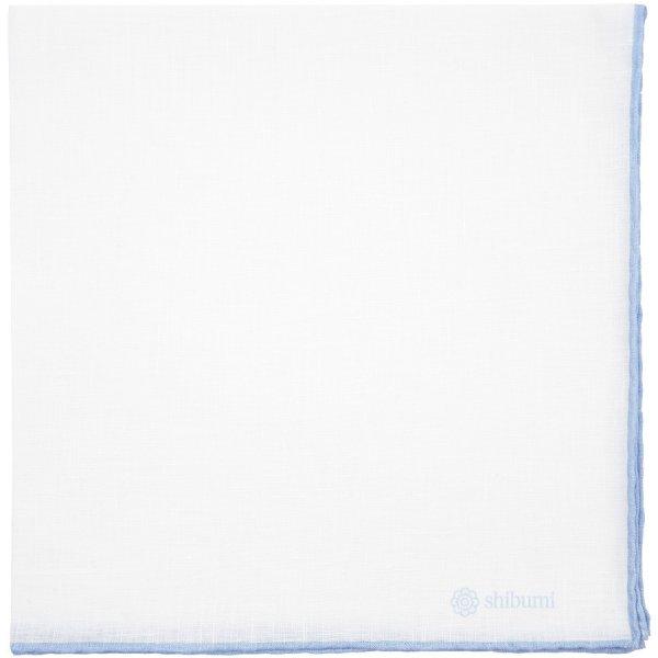 Irish Linen Shoestring Pocket Square - White / Sky Blue - 43 x 43cm