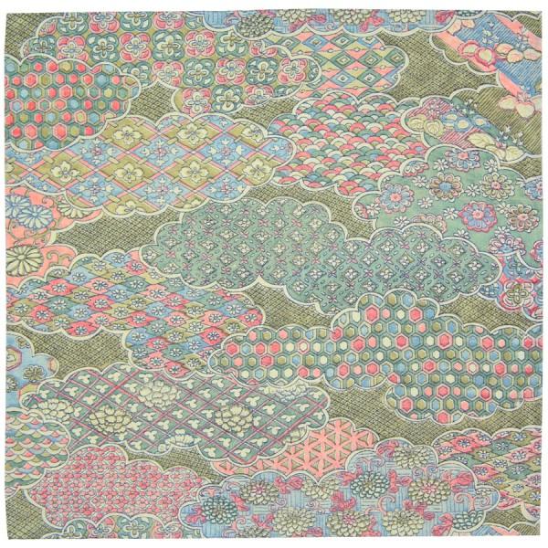 Vintage Kimono Silk Pocket Square - Moss