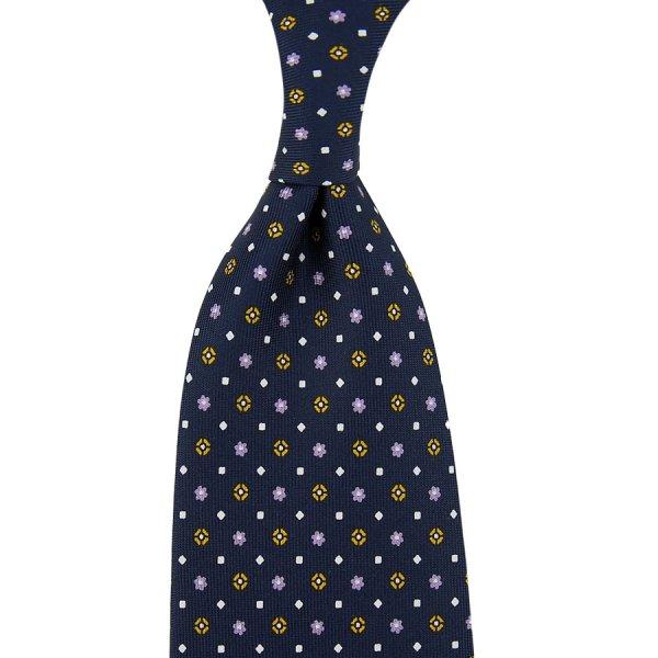 Floral Printed Silk Tie - Navy - Self-Tipped