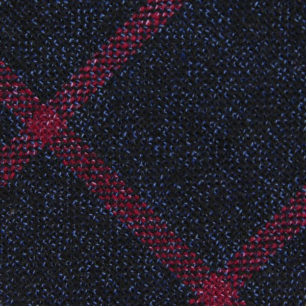 Windowpane Wool / Silk Bespoke Tie - Navy