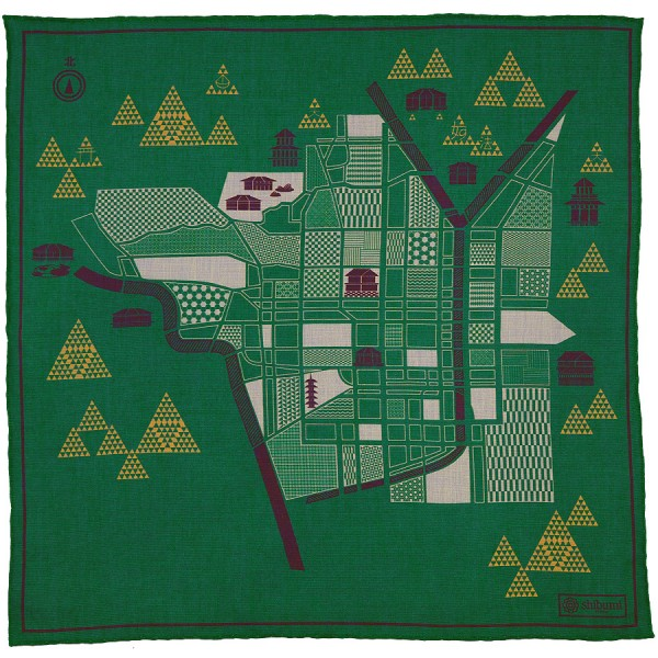 Kyoto Map Cotton Blend Pocket Square - Green - 40 x 40cm