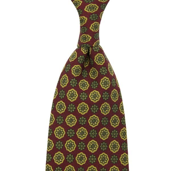 Floral Printed Wool Tie - Cherry - Handrolled