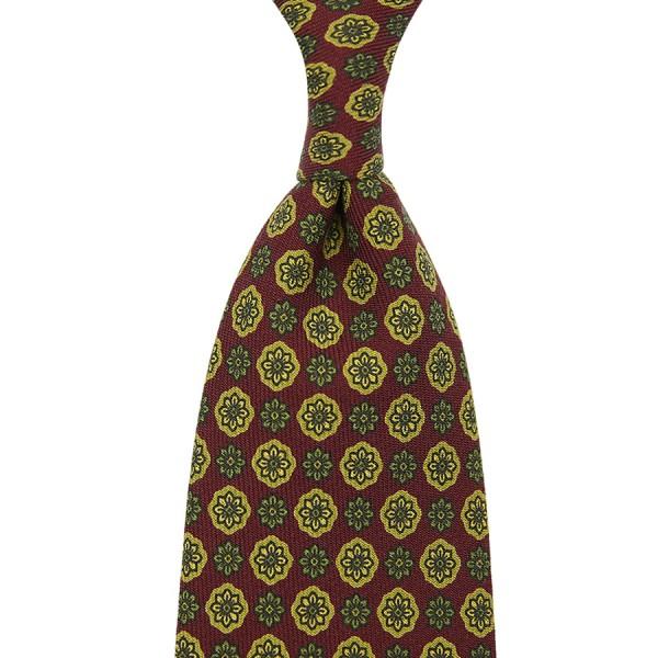 Floral Printed Wool Tie - Cherry - Handrolled - 140cm