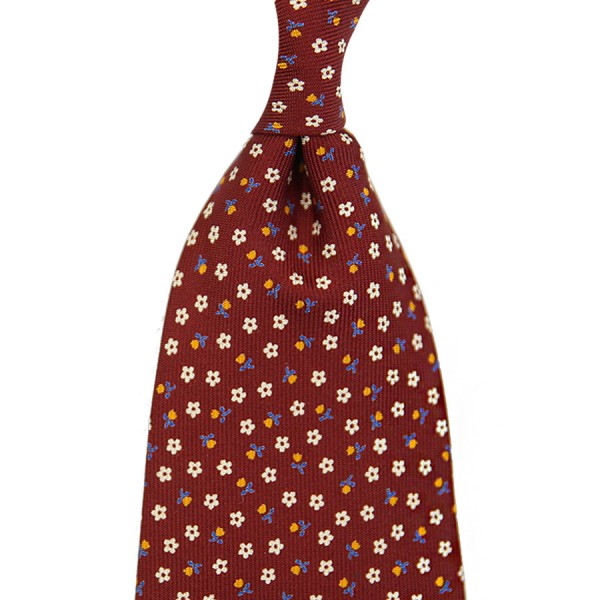 Floral Printed Silk Tie - Cherry IV - Handrolled