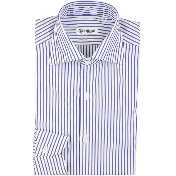 Poplin Semi Spread Shirt - White / Navy - Fine Stripe - Regular Fit