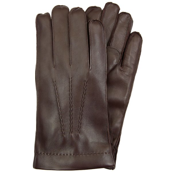 Deerskin Gloves With Rabbit Fur Lining - Chocolate