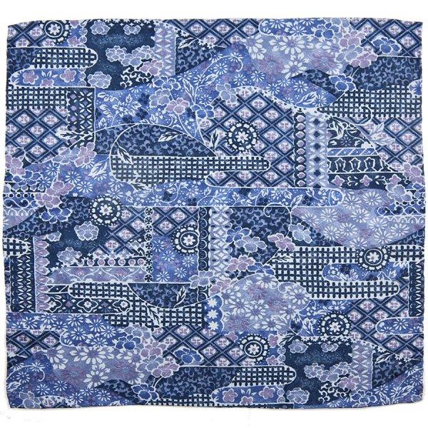 Vintage Kimono Silk Pocket Square - Blue