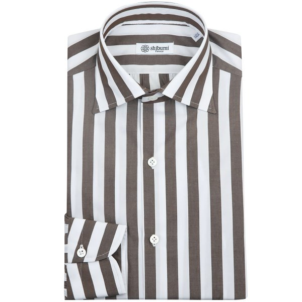 Poplin Semi Spread Shirt - White / Brown - Wide Stripe - Regular Fit