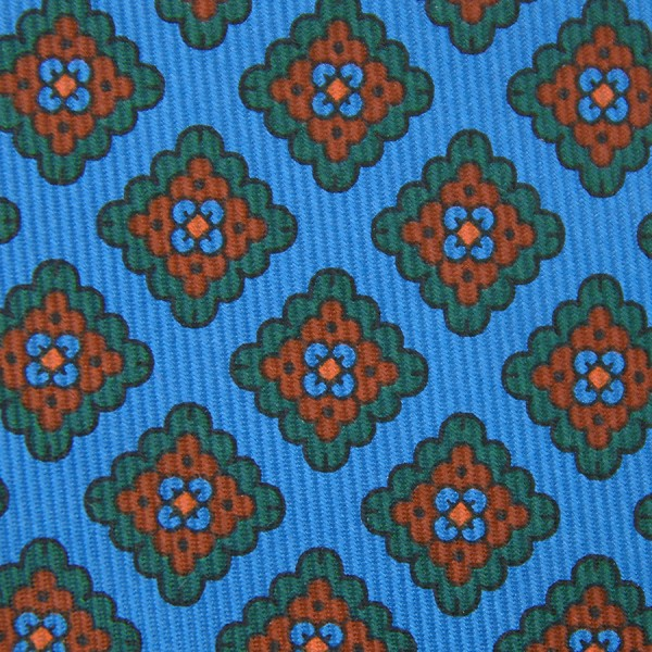Floral Printed Madder Silk Bespoke Tie - Madder Blue