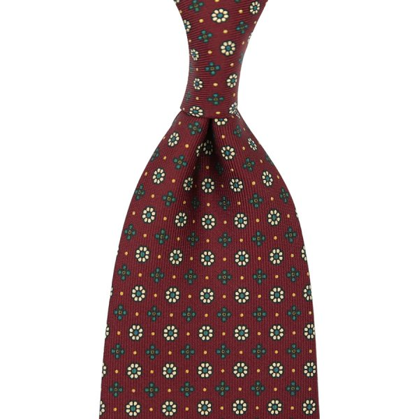 Floral Printed Silk Tie - Cherry I - Handrolled