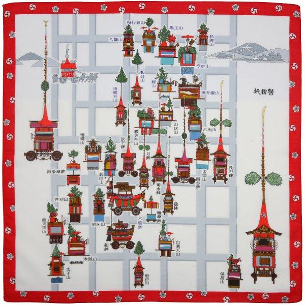 Kyoto Motif Cotton Handkerchief - White / Red