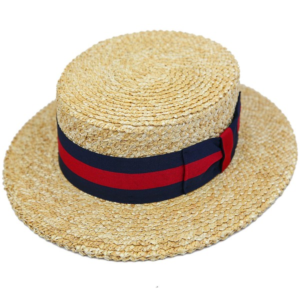 Boater Hat - Sand - Navy / Red RIbbon
