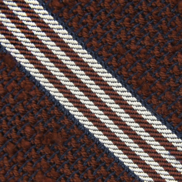 Striped Shantung Grenadine Bespoke Tie - Brown