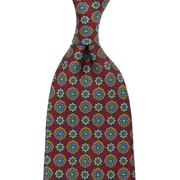 Floral Printed Panama Silk Tie - Wine - Handrolled