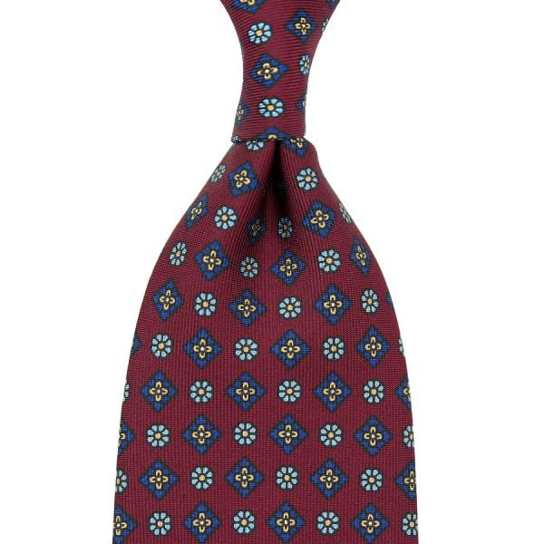 Floral Printed Silk Tie - Burgundy IV - Handrolled - 140cm