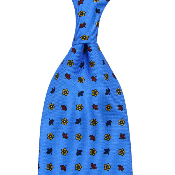Floral Printed Silk Tie - Willow Blue - Hand-Rolled