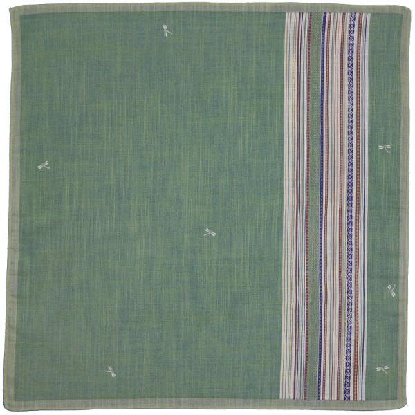 Dragonfly Motif Cotton Handkerchief - Green