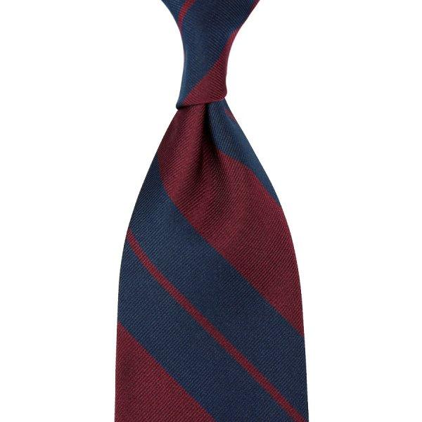 Repp Stripe Silk Tie - Navy / Burgundy - Hand-Rolled