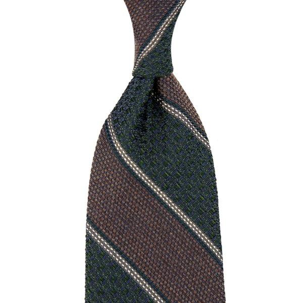 Block Stripe Grossa / Fina Grenadine Wool / Silk Tie - Forest / Brown