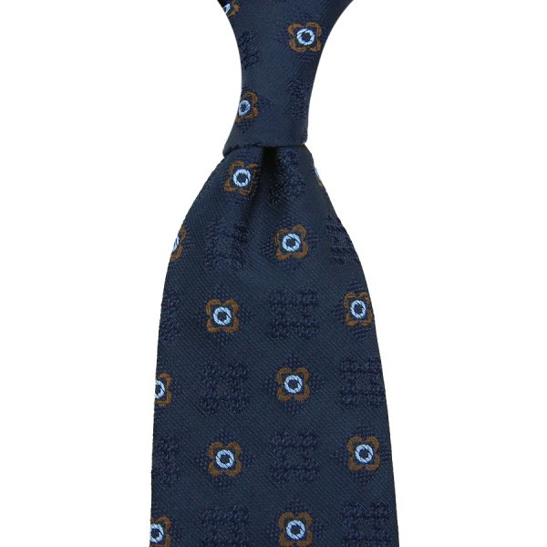 Floral Boucle Silk Tie - Navy - Hand-Rolled