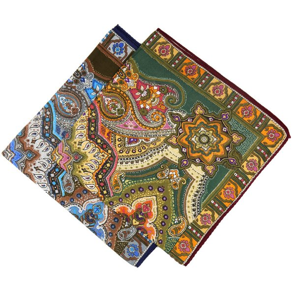 Paisley Printed Cotton Handkerchief Set - Forest / Brown