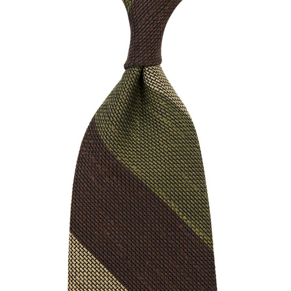 Triple Block Stripe Grenadine Linen / Silk Tie - Brown / Beige / Olive