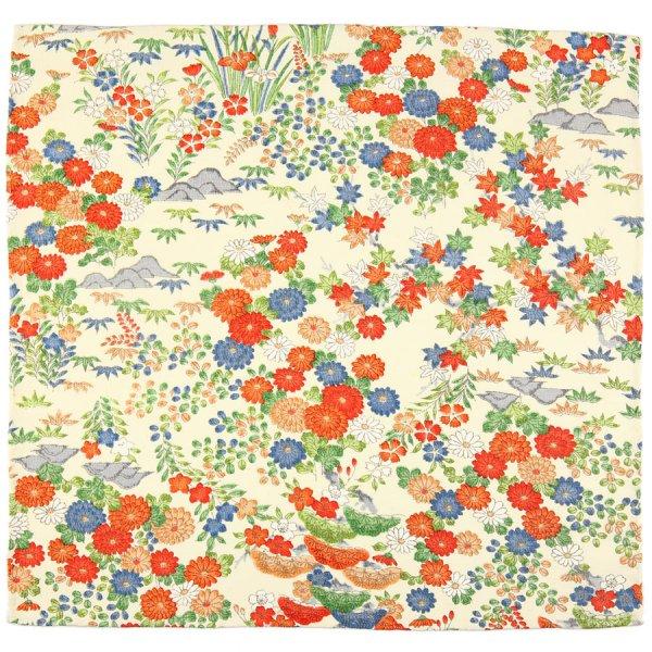 Vintage Kimono Silk Pocket Square - Ecru