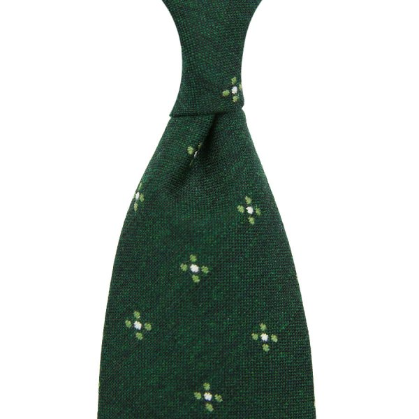 Floral Wool / Silk Boucle Tie - Forest - Hand-Rolled