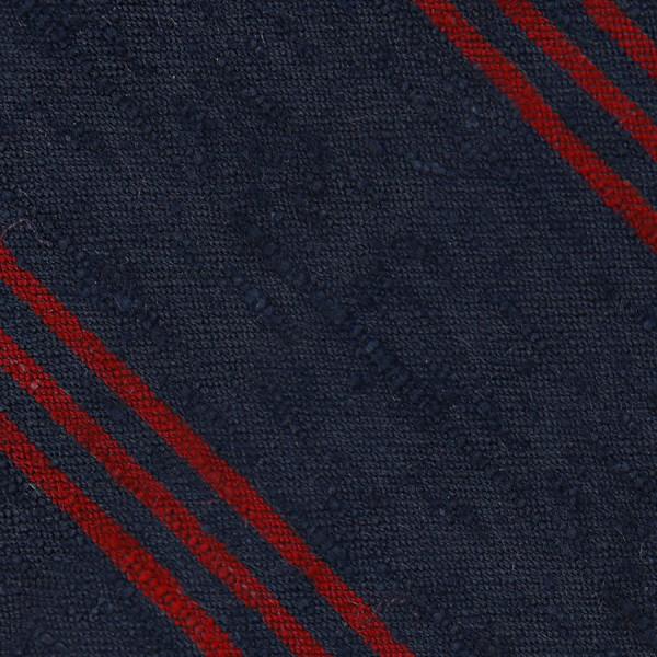Triple Stripe Shantung Bespoke Tie - Navy / Cherry