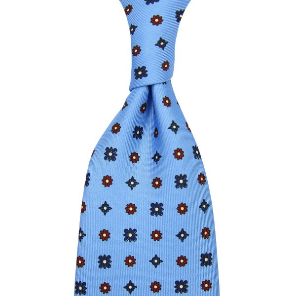 Floral Printed Silk Tie - Powder Blue - Hand-Rolled