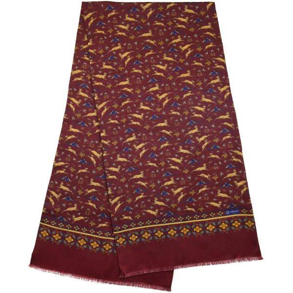 Animal Printed Wool / Silk Scarf - Burgundy