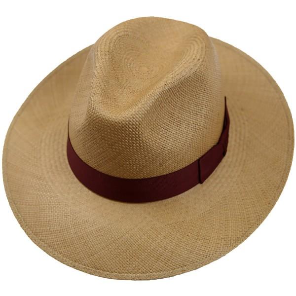 Panama Hat - Caramel - Burgundy Ribbon